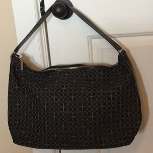 Kate Spade geometric logo bag black suede lining